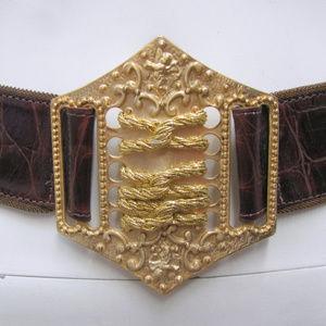 Streets Ahead Moc Croc Brown Leather Belt Size M